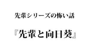 『先輩と向日葵』先輩シリーズ【怖い話】|洒落怖名作まとめ